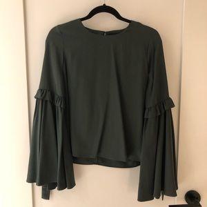 J.O.A. Dark Green Bow Wide Sleeve Top